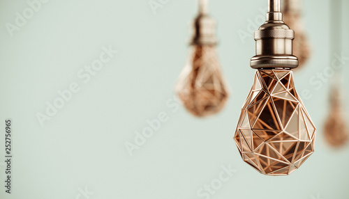 Unusual 3d illustration of hanging stylized low poly light bulbs with golden wire Canvas Print