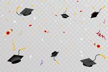 Confetti Graduation Hats Fly In Sky Poster Graduation Caps Scrolls Transparent Background Flat Design Vector Illustration