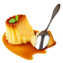 Caramel Custard Pudding With Mint And Caramel Syrup Isolated On White Background. Flan Dessert Made Of Eggs