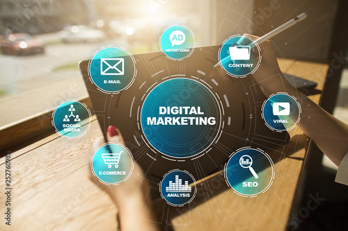 Digital marketing technology concept. Internet. Online. Search Engine Optimisation. SEO. SMM. Video Advertising.