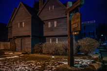 Salem, USA- March 03, 2019: Historic Johnathan Corbin House Known As The Witch House Because Of Its Connection To The 1662-63 Witch Trials On A Rainy Day, It Is Located In Salem, Massachusetts