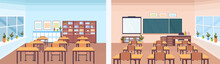 Back And Front View Modern School Classroom Interior Chalk Board Teacher Desk Empty No People Horizontal Banner Flat