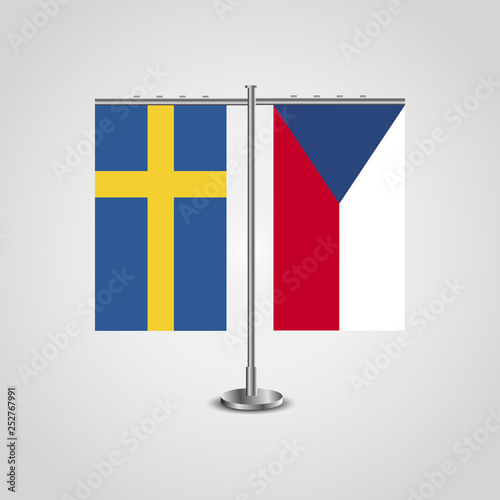Photo  Table stand with flags of Sweden and Czech Republic