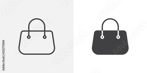 Fototapeta Purse handbag icon. line and glyph version, outline and filled vector sign. Women Bag linear and full pictogram. Symbol, logo illustration. Different style icons set obraz