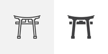 Torii Gate Icon. Line And Glyph Version, Outline And Filled Vector Sign. Shinto Shrine Linear And Full Pictogram. Symbol, Logo Illustration. Different Style Icons Set