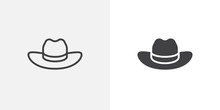 Cowboy Hat Icon. Line And Glyph Version, Outline And Filled Vector Sign. Beach Hat Linear And Full Pictogram. Symbol, Logo Illustration. Different Style Icons Set