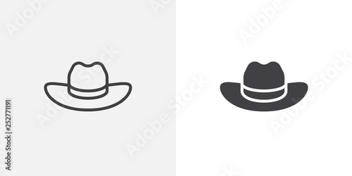 Obraz Cowboy hat icon. line and glyph version, outline and filled vector sign. Beach hat linear and full pictogram. Symbol, logo illustration. Different style icons set - fototapety do salonu