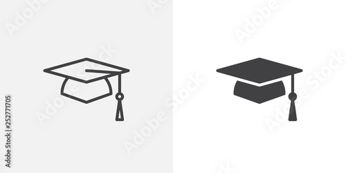 Graduation cap icon Wallpaper Mural