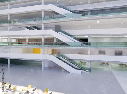 Fototapeta Public interior atrium. 3D render. obraz na płótnie