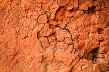 Red Soil Clay Texture Background Pattern Cracked Wall Dry