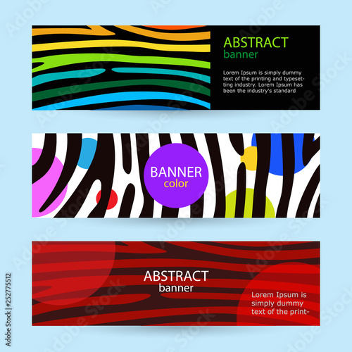 Set of horizontal color banners with stripes rainbow  Black