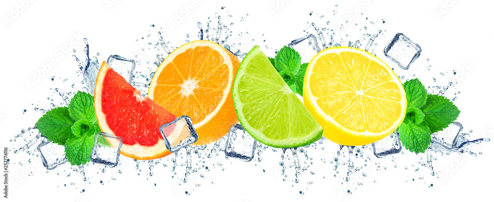 Fototapeta citruses water splash and ice cubes isolated on the white