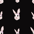 Seamless pattern of portraits of Easter bunnies on a black background