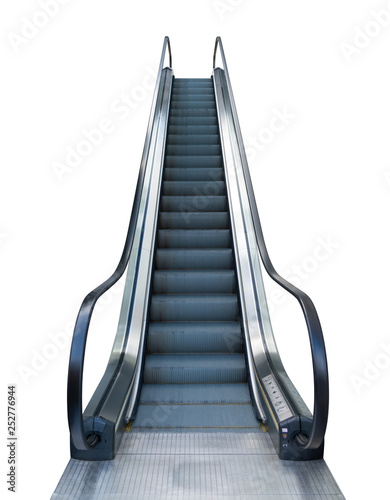 Photo escalator step outside shopping mall isolated on white background with clipping