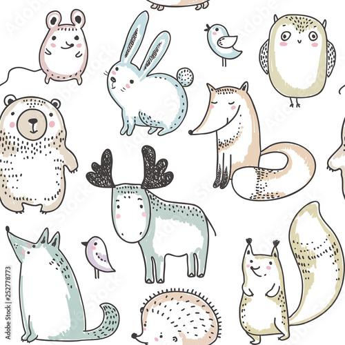 Fototapeten Künstlich Vector seamless pattern with hand drawn wild forest animals,
