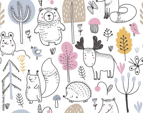 plakat Vector seamless pattern with hand drawn wild forest animals,