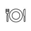 Knife, fork, plate thin line icon isolated on white background