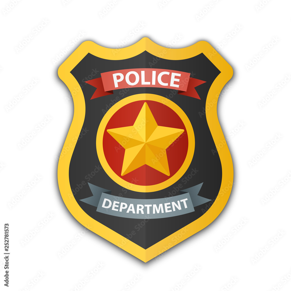 Fototapeta Police badge icon. Shield with a star, vector illustration on white background