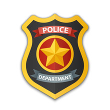Police Badge Icon. Shield With...