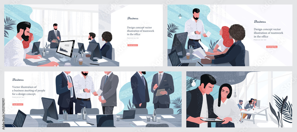Fototapety, obrazy: Vector illustrations for business, finance, cover, banner, poster or brochure design. Financial administration concept. Drawings of work in the office and in the team