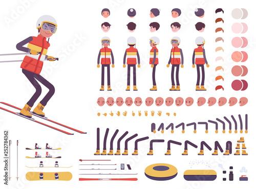 Fotografija Skier man character creation set