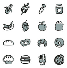 Carbohydrate Food Or Carbs Food Icons Freehand 2 Color