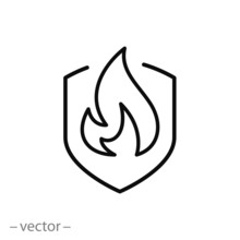 Fire Protect Icon, Linear Sign On White Background - Editable Vector Illustration Eps10