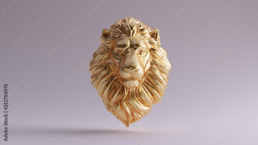 Fototapeta Gold Adult Male Lion Bust Sculpture Front 3d illustration 3d render