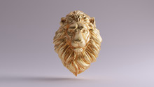 Gold Adult Male Lion Bust Scul...