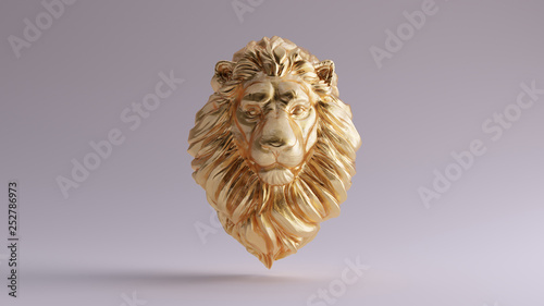 Photo Gold Adult Male Lion Bust Sculpture Front 3d illustration 3d render