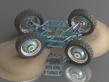 Prototype, All-terrain Vehicle, SUV, Wheeled All-terrain Vehicle, Concept Car, Four-wheel Drive, High-tech, Design, Blue, Green, Frame, Frame Chassis, Wallpaper For Children's Room, Technoart, Technol