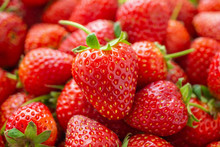 Fresh Organic Red Ripe Strawberry Fruit Background Closeup