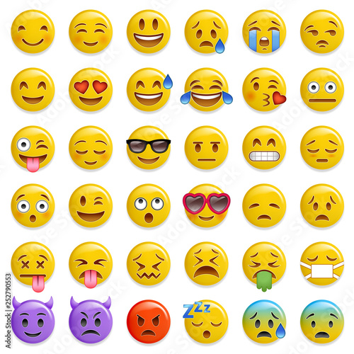 smiley emoticon glossy vector set