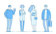 College Students. Young Smart Boys And Girls Teenager School Student Group Studying Persons Flat Line Vector Concept. Illustration Of College Boy And Girl, Young People Character