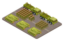 Military Parade Vector Isometric With Soldiers And Military Equipment. Military Parade Army, Soldier Uniform Illustration