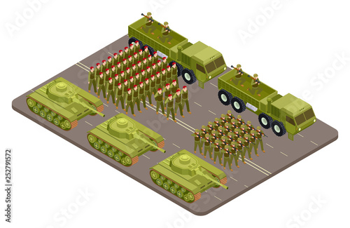 Fotografía  Military parade vector isometric with soldiers and military equipment