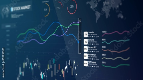 Photo  Business chart, company annual report and statistics, financial ratios, curves
