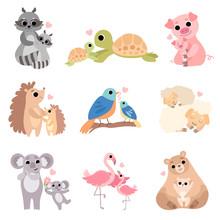 Cute Animal Families Set, Racc...