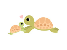 Mother Tortoise And Its Baby, ...