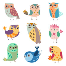 Collection Of Cute Owlets, Colorful Adorable Owl Birds Vector Illustration