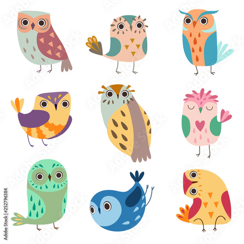 Canvas Prints Creatures Collection of Cute Owlets, Colorful Adorable Owl Birds Vector Illustration