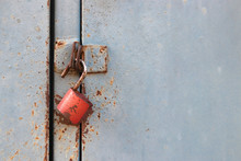 Old Iron Cabinet And Red Key