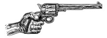 A Hand Holding Western Pistol ...