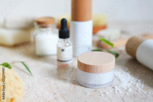 Fotografie, Obraz  Face cream, serum, lotion, moisturizer and sea salt