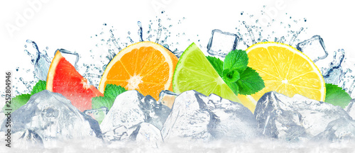 citruses water splash and ice cubes isolated on the white - 252804946