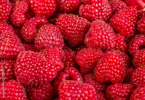 Canvas Prints Fruits Fresh and sweet raspberries background