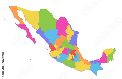 Mexico map, new political detailed map, separate individual states ...