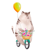 Cute Watercolor Cat Riding Bic...