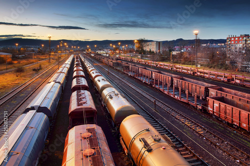 Fotografía  Container Freight Train in Station, Cargo railway transportation industry