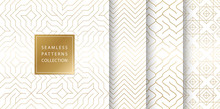 Geometric Seamless Golden Pattern Background. Simple Vector Graphic White Print. Repeating Line Abstract Texture Set. Minimalistic Shapes. Stylish Trellis Square Gold Grid. Geometry Web Page Fill.